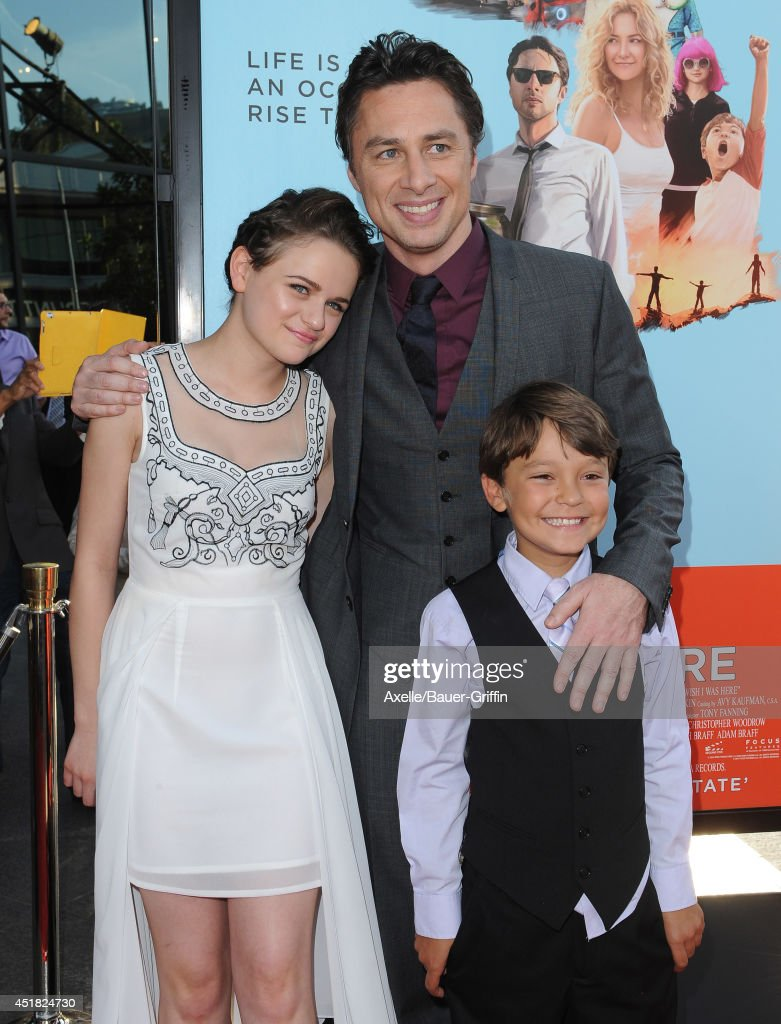 Actress Joey King, actor/director Zach Braff and actor Pierce Gagnon arrive at the Los Angeles Premiere 'Wish I Was Here' at the DGA Theater on June 23, 2014 in Los Angeles, California.