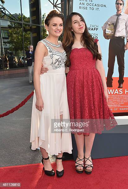 Actress Joey King and Emma Raimi attend the premiere of Focus Features' 'Wish I Was Here' at DGA Theater on June 23 2014 in Los Angeles California