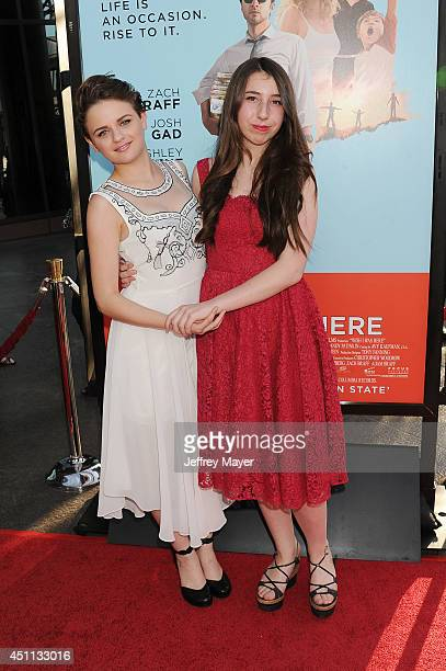 Actress Joey King and Emma Raimi attend the 'Wish I Was Here' Los Angeles premiere on June 23 2014 at the DGA Theater in Los Angeles California