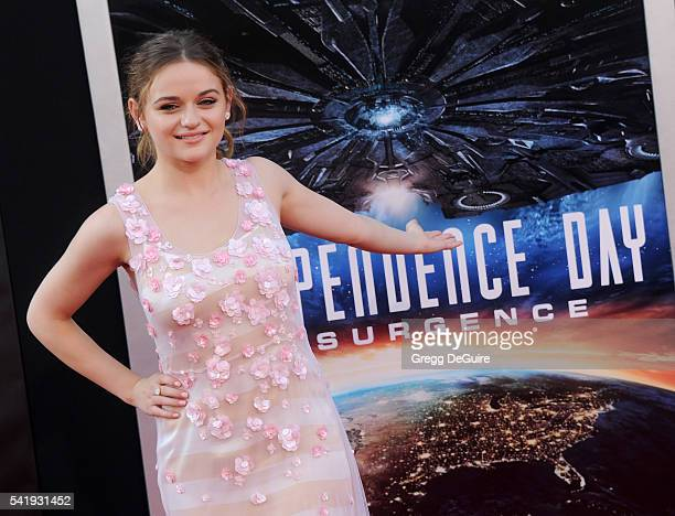 Actress Joey King arrives at the premiere of 20th Century Fox's 'Independence Day Resurgence' at TCL Chinese Theatre on June 20 2016 in Hollywood...