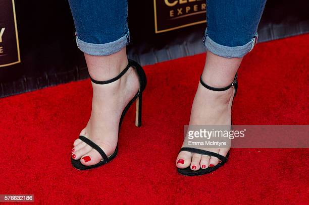Actress Joey King shoe detail arrives at 'The Celebrity Experience QA Panel' at Hilton Universal Hotel on July 16 2016 in Los Angeles California