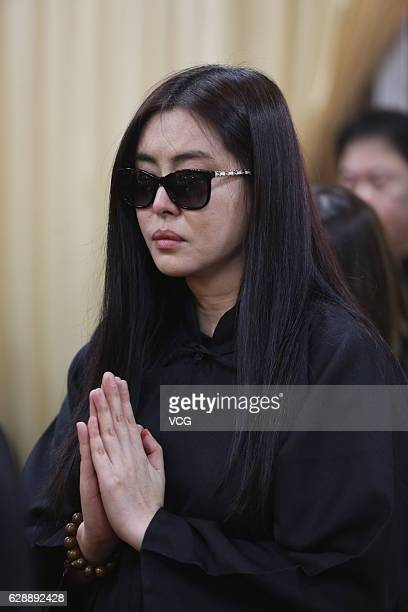 Actress Joey Wong attends her father's funeral ceremony on December 9 2016 in Taipei Taiwan of China