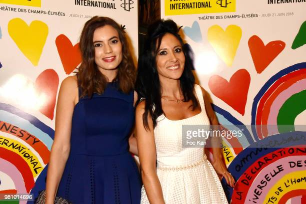 Actress Johanna Bros and singer Fabienne Carat attend the Amnesty International 34th Gala at Theatre Champs Elysees and after Party at La Maison...