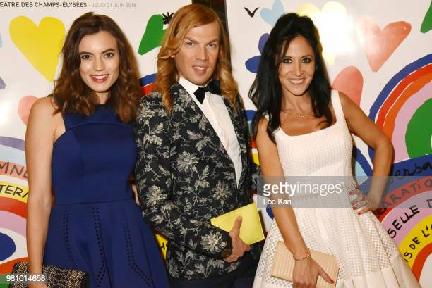 Actress Johanna Bros designer Christophe Guillarme and singer Fabienne Carat attend the Amnesty International 34th Gala at Theatre Champs Elysees and...