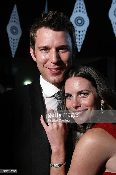 Actress Jolene Anderson and partner pose at the after party following the L'Oreal Paris 2007 AFI Awards Dinner at the Melbourne Exhibition Centre on...