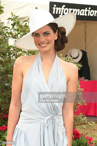 Actress Jolene Anderson attends the AAMI Victoria Derby Day, part of the four day Melbourne Cup Carnival, at Flemington Race Course on November 4,...