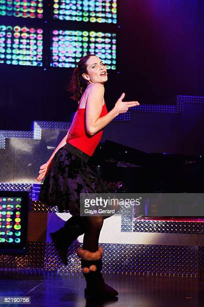 """Actress Jolene Anderson performs onstage during a dress rehearsal for the opening night of """"Tell Me On A Sunday"""" at the Glen Street Theatre on August..."""
