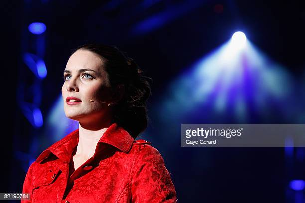 Actress Jolene Anderson performs onstage during a dress rehearsal for the opening night of Tell Me On A Sunday at the Glen Street Theatre on August 6...