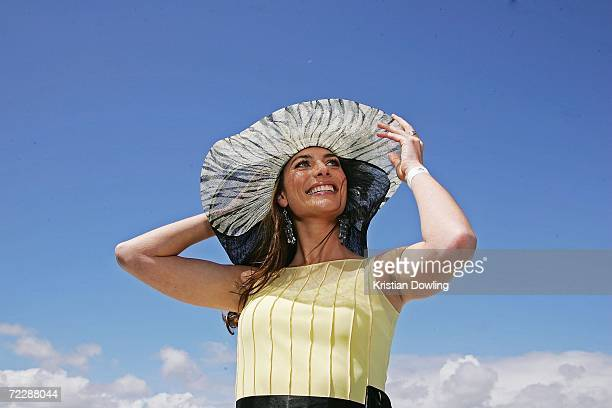 """Actress Jolene Anderson poses at the """"Fashions on the Field"""" competition during the Cox Plate meeting at Moonee Valley Racing Club on October 28,..."""