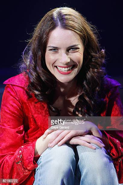 """Actress Jolene Anderson poses onstage during a dress rehearsal for the opening night of """"Tell Me On A Sunday"""" at the Glen Street Theatre on August 6,..."""