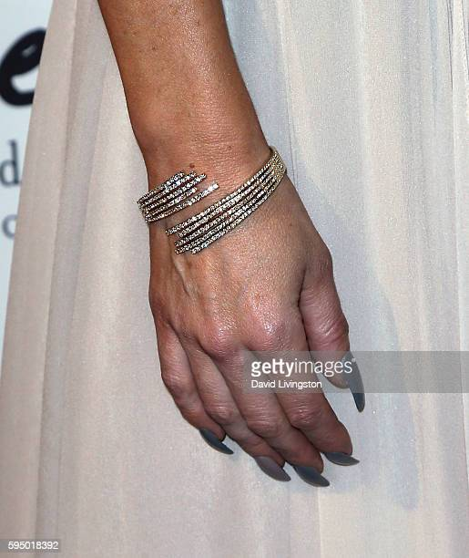 Actress Jolene Blalock bracelet detail attends the MakeAWish Greater Los Angeles Fashion Fundraiser at Taglyan Cultural Complex on August 24 2016 in...