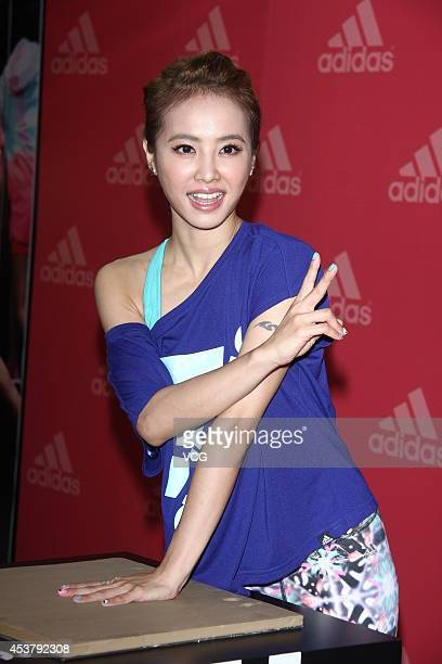 Actress Jolin Tsai attends a commercial activity of Adidas on August 18 2014 in Taipei China