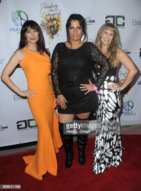 Actress Jon Mack actress Alice Amter and Chaylce arrive for the Defending The Endangered presents For The Love Of Animals Gala held at Art Commerce...