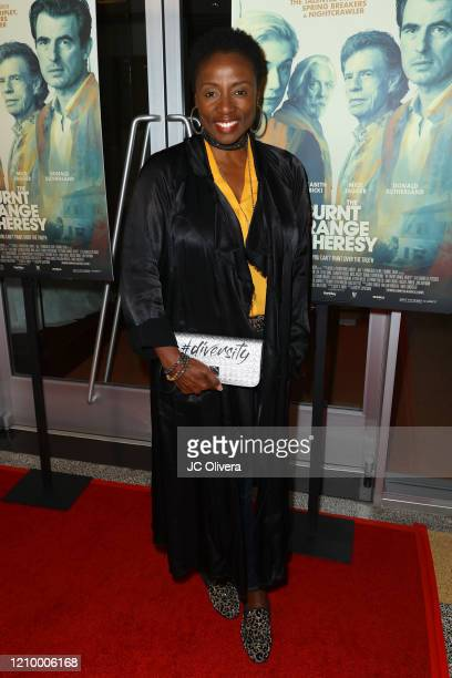 """Actress Joni Bovill attends the LA special screening of Sony's """"The Burnt Orange Heresy"""" at Linwood Dunn Theater on March 02, 2020 in Los Angeles,..."""