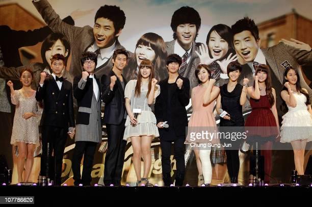 Actress Joo actor Woo Young Um KiJoon Taec Yeon singer Suzi actor Kim SooHyun singer Eun Jung actress Lee YunJi singer IU and actress Yun YoungA pose...
