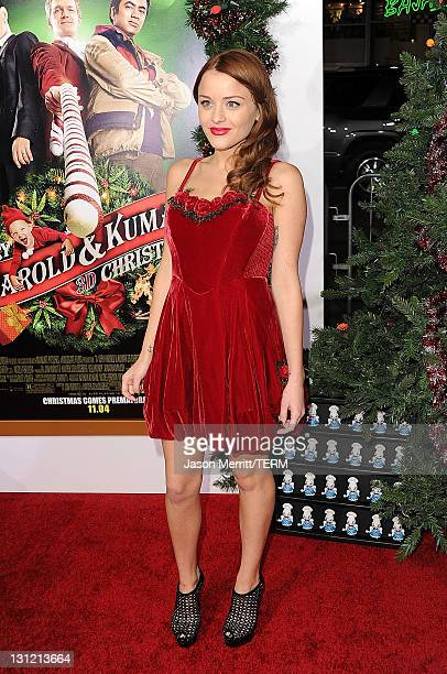 Actress Jordan Hinson arrives at the premiere of New Line Cinema's A Very Harold Kumar 3D Christmas at Grauman's Chinese Theatre on November 2 2011...