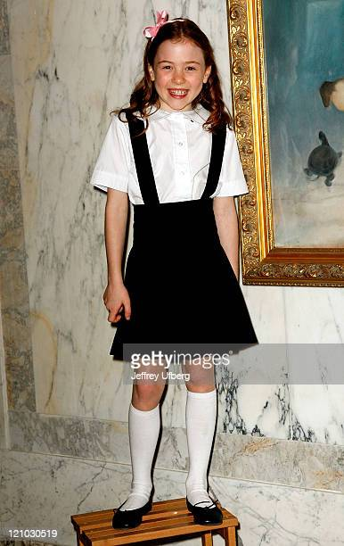 """Actress Jordana Beatty, who plays Eloise in the upcoming """"Eloise in Paris"""" movie, poses during the unveiling of a portrait depicting the children's..."""