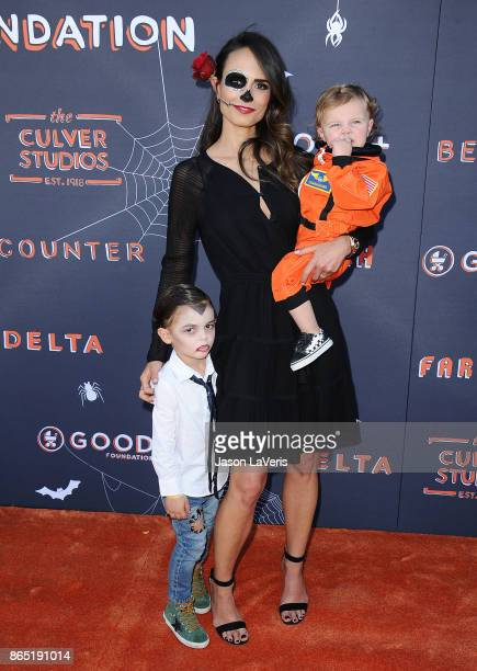 Actress Jordana Brewster and sons Julian FormBrewster and Rowan BrewsterForm attend the GOOD Foundation's 2nd annual Halloween Bash at Culver Studios...