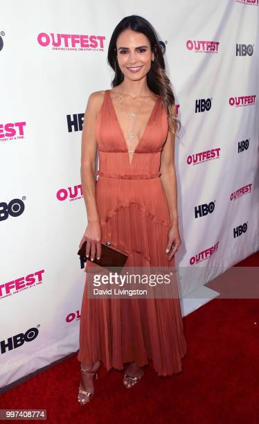 Actress Jordana Brewster attends the 2018 Outfest Los Angeles opening night gala screening of Studio 54 at the Orpheum Theatre on July 12 2018 in Los...