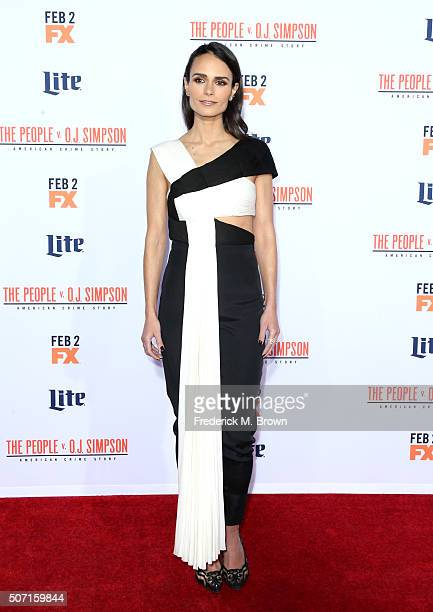 Actress Jordana Brewster attends the premiere of FX's 'American Crime Story The People V OJ Simpson' at Westwood Village Theatre on January 27 2016...