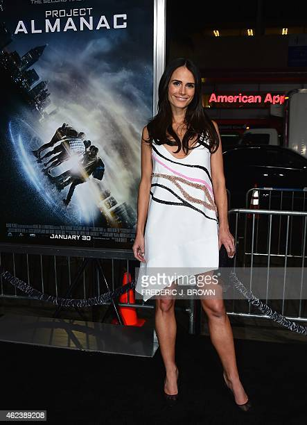 Actress Jordana Brewster poses on arrival for the Los Angeles Premiere of Project Almanac on January 27 2015 in Hollywood California The film opens...