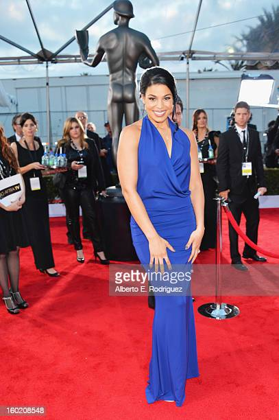Actress Jordin Sparks arrives at the 19th Annual Screen Actors Guild Awards held at The Shrine Auditorium on January 27, 2013 in Los Angeles,...
