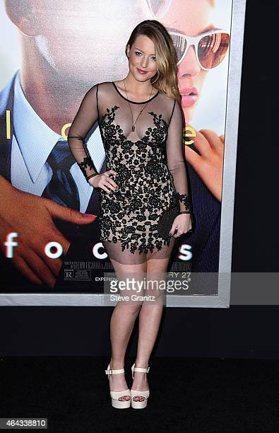"""Actress Jordy Lucas attends the Warner Bros. Pictures' """"Focus"""" premiere at TCL Chinese Theatre on February 24, 2015 in Hollywood, California."""