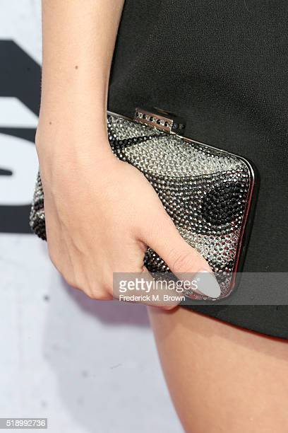 Actress Jordyn Jones clutch detail attends the iHeartRadio Music Awards at The Forum on April 3 2016 in Inglewood California