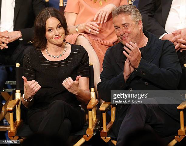 Actress Jorja Fox and actor William Petersen speak during The Paley Center for Media's PaleyFest 2015 Fall TV Preview 'CSI' Farewell Salute at The...