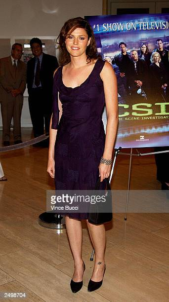 """Actress Jorja Fox attends a special screening of the fourth-season premiere episode of the top-rated television series """"CSI: Crime Scene..."""