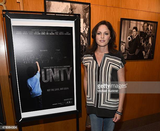 Actress Jorja Fox attends the world premiere of UNITY at the DGA Theater on June 24 2015 in Los Angeles California