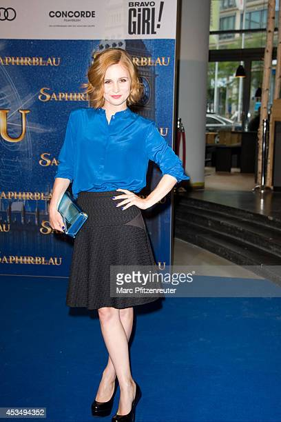 Actress Josefine Preuss attends the premiere of 'Saphirblau' at the Cinedom on August 11 2014 in Cologne Germany