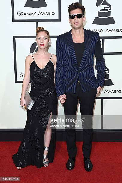 Actress Josephine de la Baume and record producer Mark Ronson attend The 58th GRAMMY Awards at Staples Center on February 15 2016 in Los Angeles...