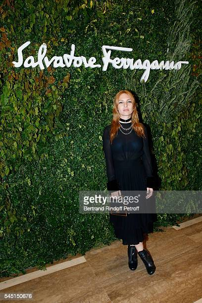 Actress Josephine de la Baume attends the Re Opening of Salvatore Ferragamo Boutique at Avenue Montaigne on July 5 2016 in Paris France