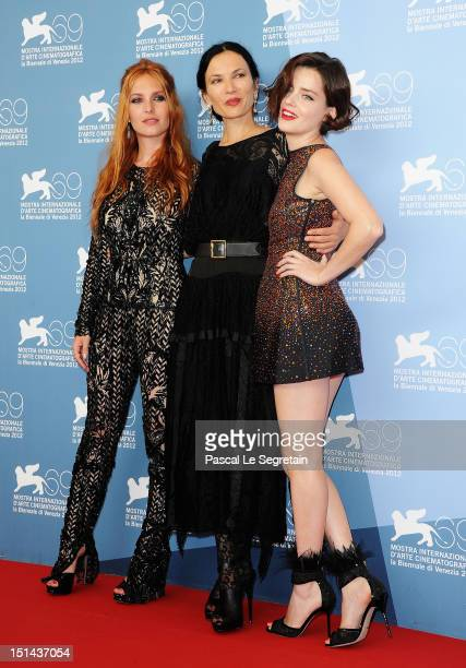 Actress Josephine De La Baume director Xan Cassavetes and actress Roxanne Mesquida attend the Kiss of the Damned Photocall during the 69th Venice...