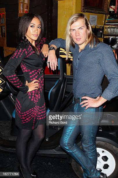 Actress Josephine Jobert and Christophe Guillarme pose before the Christophe Guillarme Spring / Summer 2013 show as part of Paris Fashion Week at...