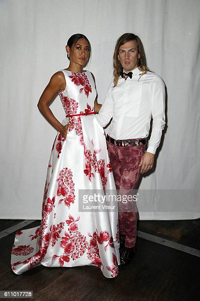 Actress Josephine Jobert and Designer Christophe Guillarme attend the Christophe Guillarme show as part of the Paris Fashion Week Womenswear...