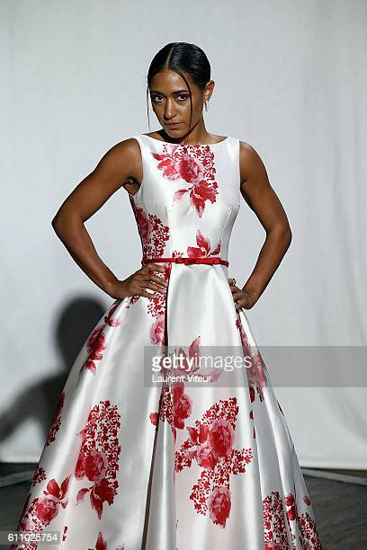 Actress Josephine Jobert walks the runway during the Christophe Guillarme show as part of the Paris Fashion Week Womenswear Spring/Summer 2017 on...