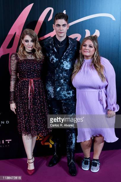 Actress Josephine Langford actor Hero Fiennes Tiffin and author Anna Todd attend 'After Aqui Empieza Todo' premiere at the Capitol cinema March 26...