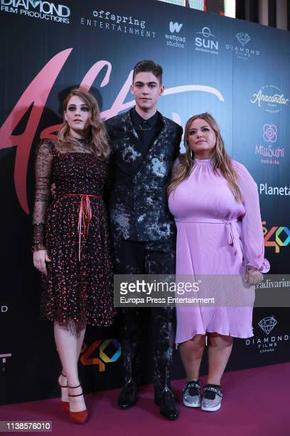 Actress Josephine Langford actor Hero Fiennes Tiffin and author Anna Todd attend 'After Aqui empieza todo' premiere on March 26 2019 in Madrid Spain