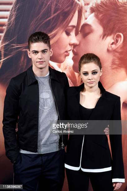 Actress Josephine Langford and actor Hero Fiennes Tiffin attend 'After Aqui Empieza Todo' photocall at the VP Hotel on March 26 2019 in Madrid Spain