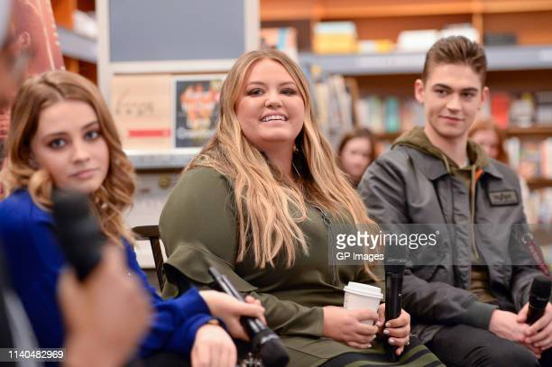 Actress Josephine Langford author Anna Todd and actor Hero Fiennes Tiffin attend the After book signing at Indigo Yorkdale on April 04 2019 in...