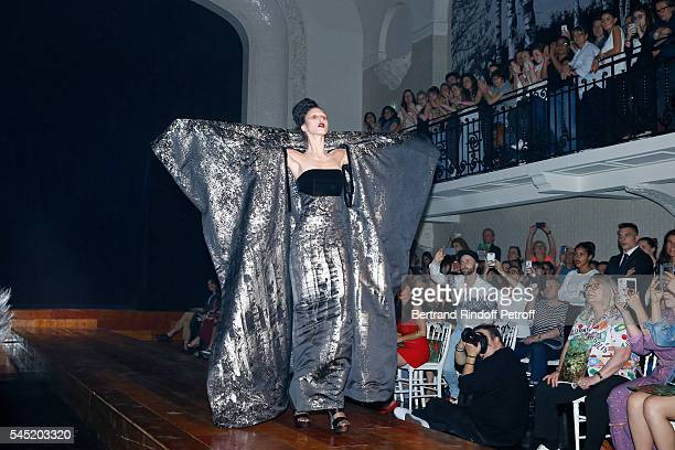 Actress Josiane Balasko attends the Jean Paul Gaultier Haute Couture Fall/Winter 20162017 show as part of Paris Fashion Week on July 6 2016 in Paris...