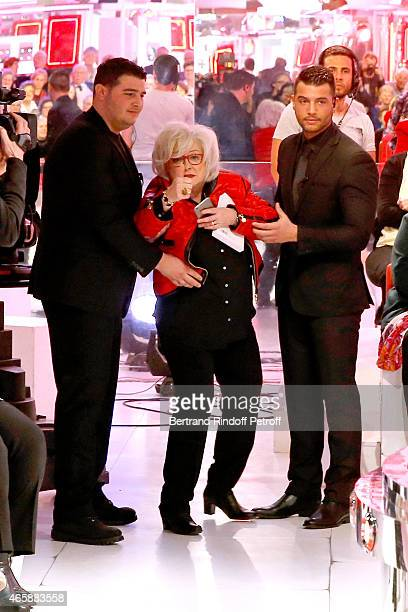 Actress Josiane Balasko performs during filming on 'Vivement Dimanche French TV show' tray of a scene of the movie C'est le metier qui rentre...