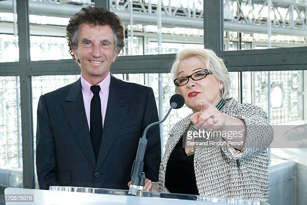 Actress Josiane Balasko receives the Medal of Arts and Letters from the president of Arab World Institute Jack Lang at Arab World Institute on June...