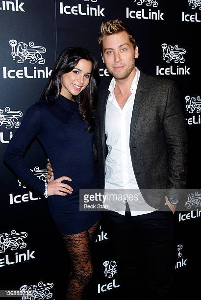 Actress Josie Loren and singer Lance Bass attend IceLink flagship store opening at IceLink Boutique on January 11 2012 in Los Angeles California