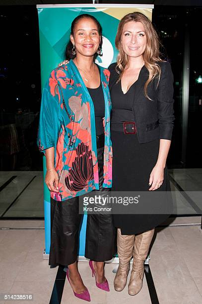 Actress Joy Bryant and Genevieve Gorder pose for a photo during the Oxfam's Sisters On The Planet Summit at the House Of Sweden on March 7 2016 in...