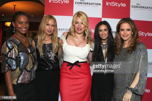 Actress Joy Bryant stylist Rachel Zoe host/photographer Amanda de Cadenet actress Demi Moore and actress Kelly Preston arrive at InStyle's...
