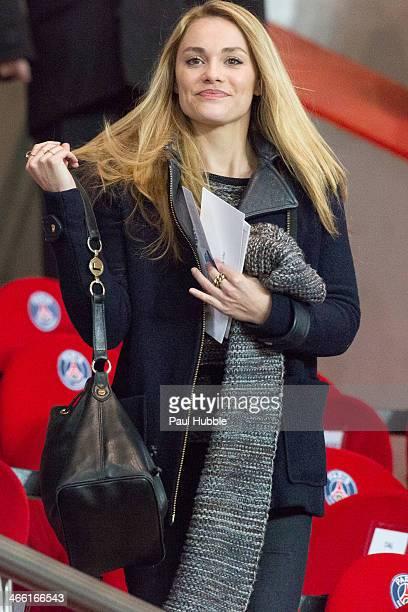 Actress Joy Esther attends the Paris Saint Germain FC vs Girondins de Bordeaux at Parc des Princes on January 31 2014 in Paris France