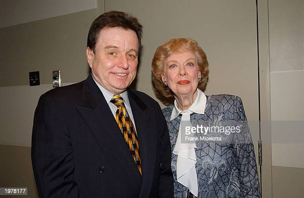 Actress Joyce Randolf who played Trixie on The Honeymooners with actor Jerry Mathers who played The Beaver on Leave it to Beaver backstage attend the...